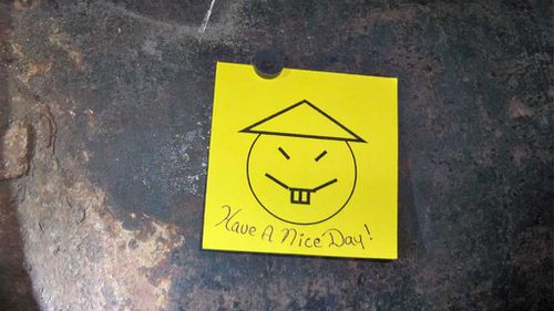 The taunting note left behind by the pair. (Supplied)