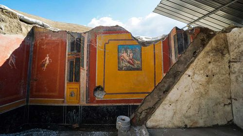 The lava and ash from Mt Vesuvius' eruption preserved stunning frescoes in Pompeii.