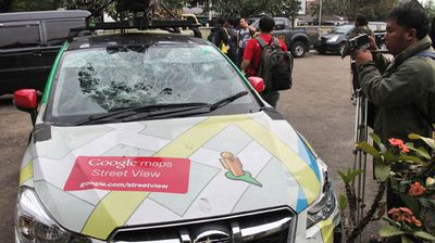 Google's Street View car following an accident, outside a police station in Bogor, Jakarta. (Getty)