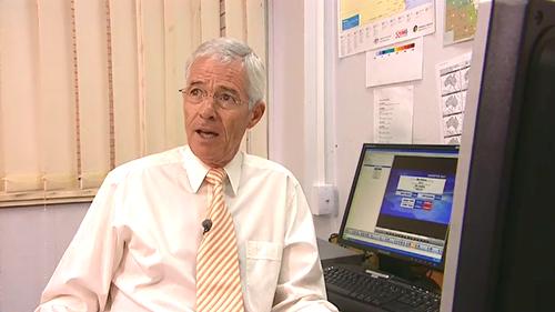 Frank Warrick as 9News Queensland's weather presenter in 2008.