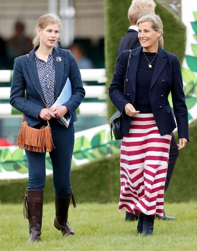 Lady Louise Windsor and Sophie, Countess of Wessex attend The Land Rover Burghley Horse Trials at Burghley House on September 8, 2019 in Stamford, England.