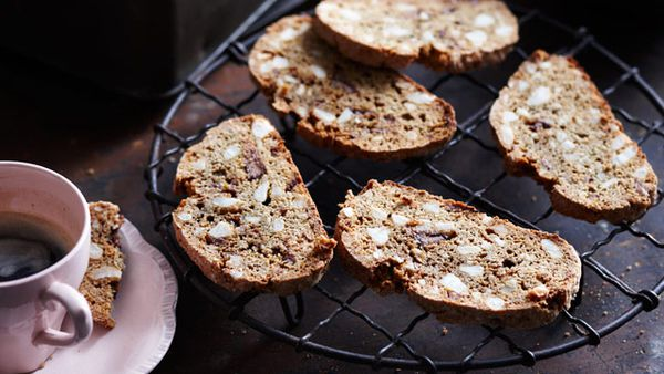 Macadamia and chocolate biscotti