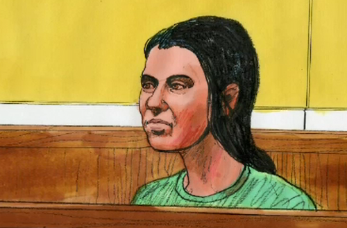 A court sketch of Momena Shoma after her arrest over the stabbing incident. (Supplied)