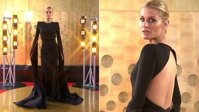 Model Cheyenne Tozzi wore a gown with truly enormous sleeves by Alex Perry.