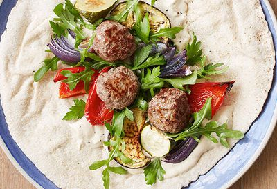 "Recipe: <a href=""/recipes/ibeef/9017525/ita-buttroses-meatball-and-roasted-vegetable-wrap"" target=""_top"">Meatball and roasted vegetable wrap</a>"
