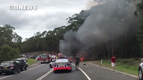A fiery head-on crash near Bendalong in New South Wales left the mother, sister and father of actress Jessica Falkholt dead.