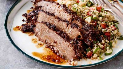 "Recipe: <a href=""http://kitchen.nine.com.au/2017/03/13/16/49/butterflied-lamb-leg-with-quinoa-tabouli"" target=""_top"">Butterflied lamb leg with quinoa tabouli</a>"