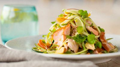 """Recipe: <a href=""""http://kitchen.nine.com.au/2017/03/09/15/44/wood-roasted-salmon-with-zucchini-noodle-pine-nuts-and-parmesan"""" target=""""_top"""">Wood roasted salmon with zucchini noodle, pine nuts and Parmesan</a>"""