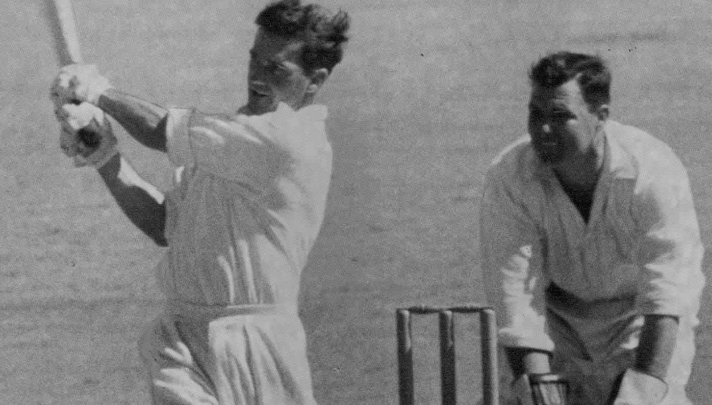 Neil Harvey batting in 1963.