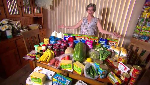 Cath Armstrong spends $300 a month on groceries for her family. (A Current Affair)