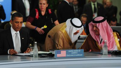 US President Barack Obama and Saudi King Abdullah bin Abdulaziz during the opening session of the G20 Summit in Toronto, Canada in June 2010. (AAP)