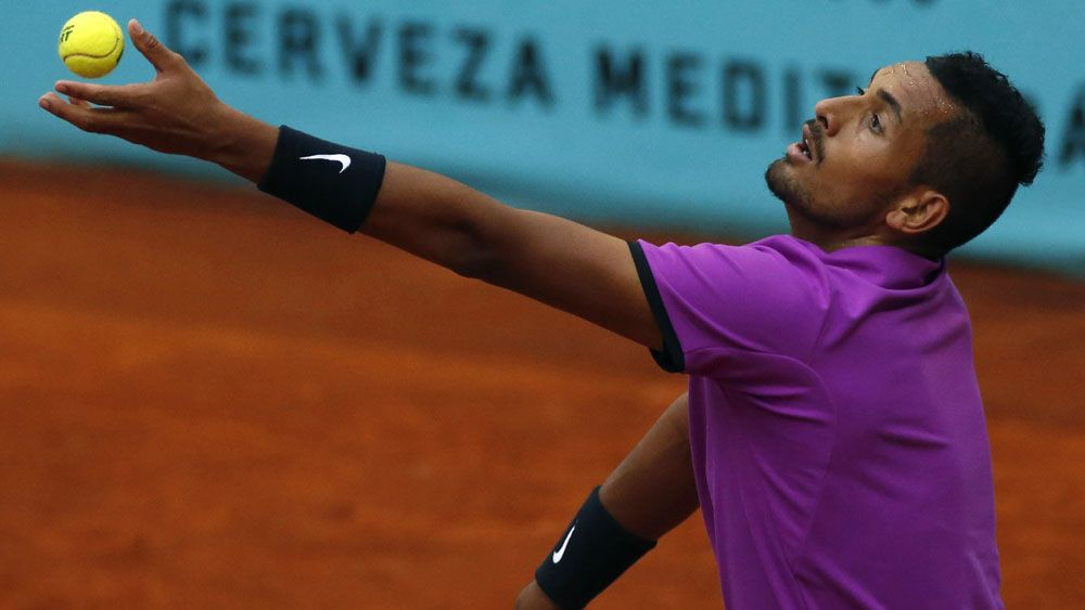 Nick Kyrgios will face Rafael Nadal in round three in Madrid. (AAP)