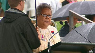 """My father and grandfather along with many other Indigenous men and women served our nation in war,"" Indigenous author and historian Dr Jackie Huggins said in an emotional commemorative address."