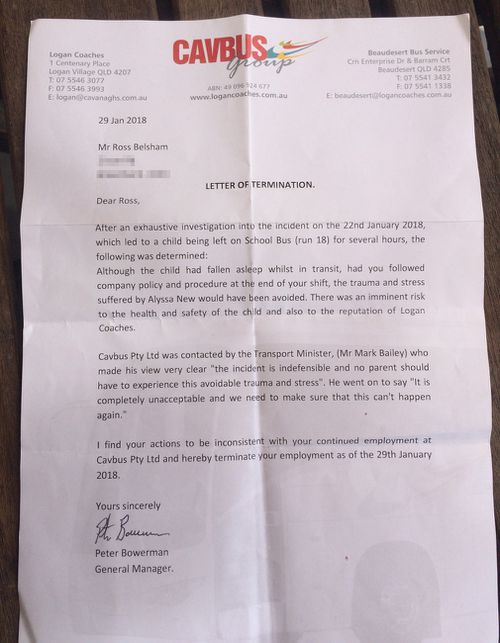 The letter of termination from Logan Coaches to Mr Belsham.