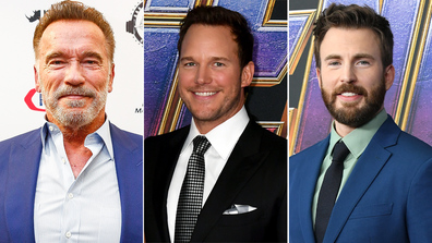 Arnold Schwarzenegger, Chris Pratt and Chris Evans.