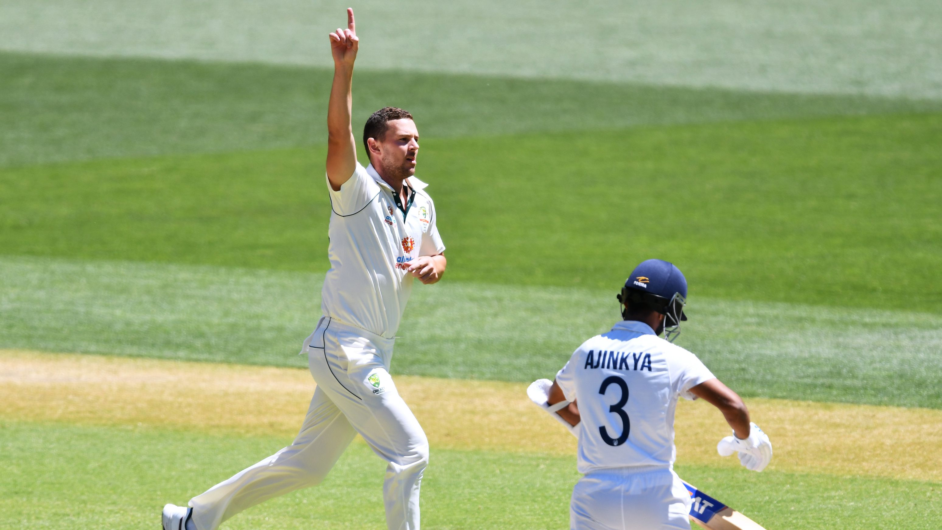 Josh Hazelwood of Australia celebrates the wicket of Ajinkya Rahane of India.