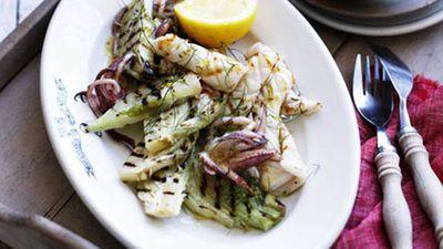 """<a href=""""http://kitchen.nine.com.au/2016/05/17/13/17/grilled-calamari-with-fennel-and-lemon-salt"""" target=""""_top"""">Grilled calamari with fennel and lemon salt</a> recipe"""