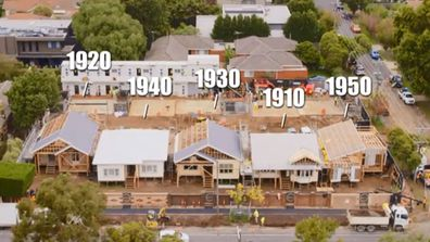 The five houses on The Block 2020 and their decades. From left to right: 1920s, 1940s, 1930s, 1910s and 1950s.