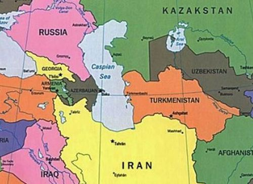 The Caspian Sea and the surrounding nations.
