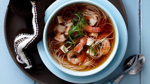 Prawn and tofu noodle soup