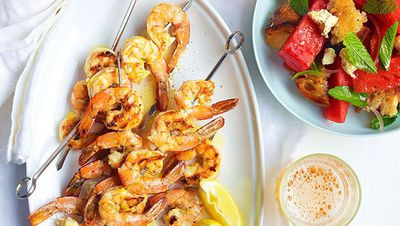 "<a href=""http://kitchen.nine.com.au/2016/05/16/13/13/chargrilled-prawns-with-watermelon-feta-and-torn-bread"" target=""_top"">Chargrilled prawns with watermelon, feta and torn bread<br> </a>"