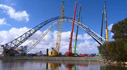 Perth's new Matagarup Bridge is undergoing its final tests before opening to the public in coming weeks. Picture: 9NEWS.