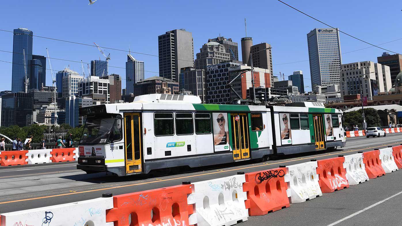 A tram in inner-city Melbourne.