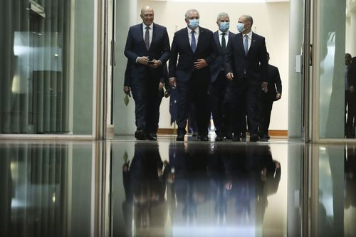Minister for Home Affairs Peter Dutton, Prime Minister Scott Morrison, Deputy Prime Minister Michael McCormack and Treasurer Josh Frydenberg depart the House of Representatives after the Treasurer handed down the Budget. Picture: Alex Ellinghausen