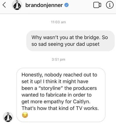 Brandon Jenner, Caitlyn Jenner, I'm A Celeb, message, Instagram