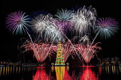 Fireworks burst around an 85-metre-high floating Christmas tree at Rodrigo de Freitas lagoon in Rio de Janeiro, Brazil, announcing the start of the festive season. It is lit up by 3.1 million lights every night. (Yasuyoshi Chiba/AFP/Getty)