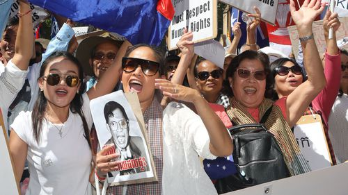 Meanwhile, protesters rallied against the Cambodian Prime Minister Hun Sen and human rights abuses within the ASEAN countries in Sydney. (AAP)