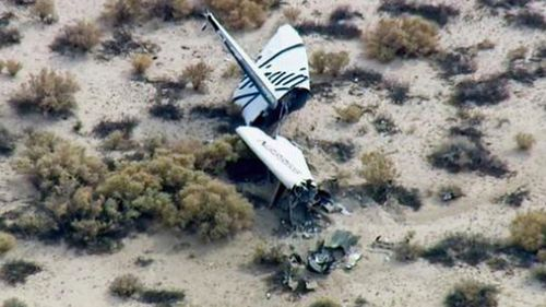 One pilot died when the spacecraft came down in California's Mohave Desert. (Supplied)