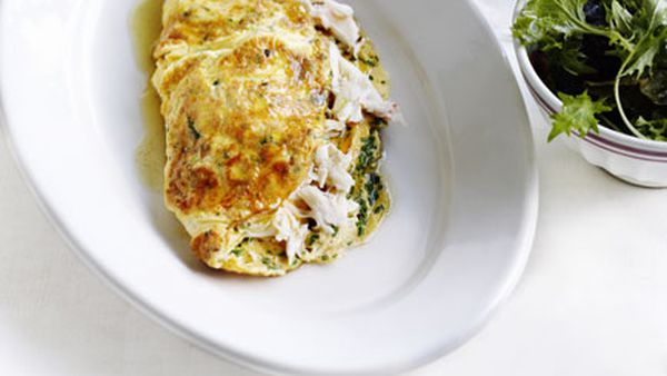 Crab and herb omelette