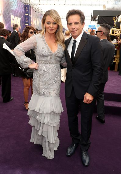 Christine Taylor and Ben Stiller attend FOXS LIVE EMMY® RED CARPET ARRIVALS during the 71ST PRIMETIME EMMY® AWARDS airing live from the Microsoft Theater at L.A. LIVE in Los Angeles