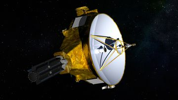 "Named ""New Horizons"", the unmanned spacecraft departed Earth in 2006 to explore Pluto and its associated belt of moons."