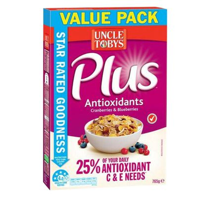 Uncle Toby's Plus Antioxidants Cranberries and Blueberries - 21.2 sugars per 100g