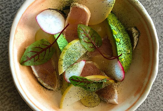 Matt Moran's seared kingfish with radish, avocado and wasabi