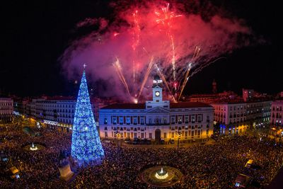 The clock of the Puerta del Sol rings at midnight to say good bye to the last year and receive 2019 during celebrations at the Puerta del Sol in Madrid, Spain.