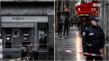 A group of armed men are on the run after a daring bank robbery on the Champs Elysees in Paris, France yesterday.