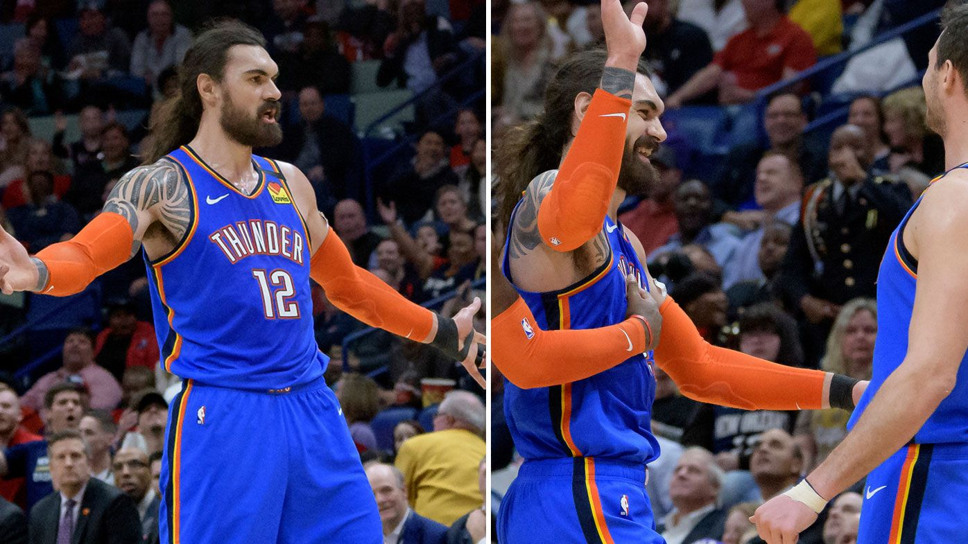 Oklahoma City Thunder center Steven Adams (12) celebrates a basket from half-court against the New Orleans Pelicans