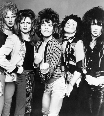 The New York Dolls are one of the first rock bands to come out of New York City since Andy Warhol unveiled the Velvet Underground in the mid-1960s. Left to right are: Arthur Kane, Jerry Nolan, David Johansen, Sylvain Sylvain, and Johnny Thunders.
