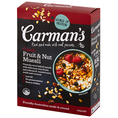 <strong>Carman's Fruit & Nut Muesli (12.7 grams of sugar per 100 grams)</strong>