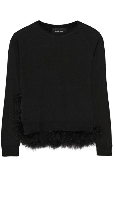 "<p><a href=""http://www.net-a-porter.com/product/536222/Simone_Rocha/feather-trimmed-wool-silk-and-cashmere-blend-sweater"" target=""_blank"">Feather-trimmed wool, silk and cashmere-blend sweater, $617.34, Simone Rocha</a></p>"