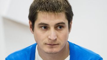 Russian Maxim Lapunov has accused authorities in Chechnya of brutally beating him as part of a broad crackdown on gay people in the Russian region (AP Photo/Pavel Golovkin).