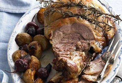 Slow-cooked leg of lamb