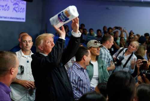 President Trump does his bit for hurricane-hit Puerto Ricans by handing out paper towels.