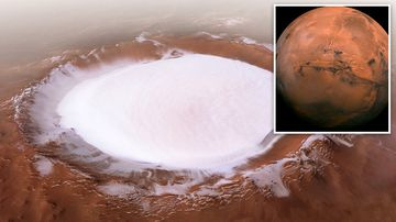 Although it looks like a beautiful mound of snow on the Red Planet, the Korolev crater would be more suited for ice skating than building a snowman.