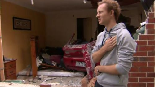 Sheldon Moroney told 9NEWS it was hard to see the front of his childhood home smashed. (9NEWS)