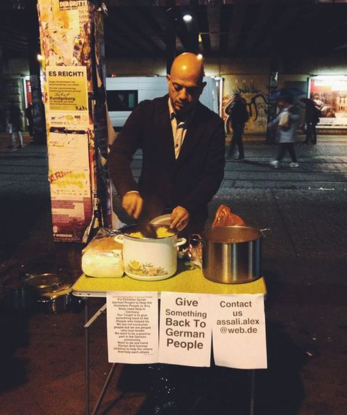 Syrian refugee pictured feeding homeless Germans in viral image