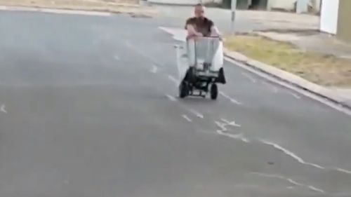 The man was captured cruising the streets of Paralowie yesterday. (Lisa Burgess)